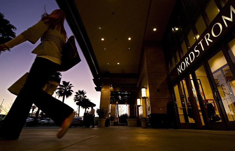 Nordstrom doesn't report its holiday-season sales until next month, but a bevy of bad news at other retailers dragged down its shares Thursday. Pictured is the Nordstrom department store in the Canoga Park section of Los Angeles. (Mark Terrill/AP)