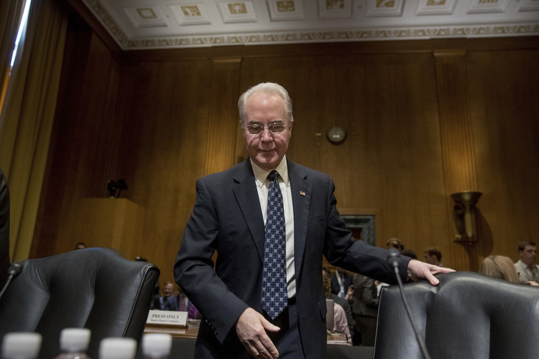 FILE – In this Jan. 24, 2017 file photo, Health and Human Services Secretary-designate, Rep. Tom Price, R-Ga., arrives on Capitol Hill in Washington, Tuesday, Jan. 24, 2017, to testify at his confirmation hearing before the Senate Finance Committee. Republicans on Wednesday muscled through President Donald Trump's nominees for Treasury and Health after the majority GOP suspended committee rules, a power grab in the latest escalation of partisan tensions in Congress. (AP Photo/Andrew Harnik, File)