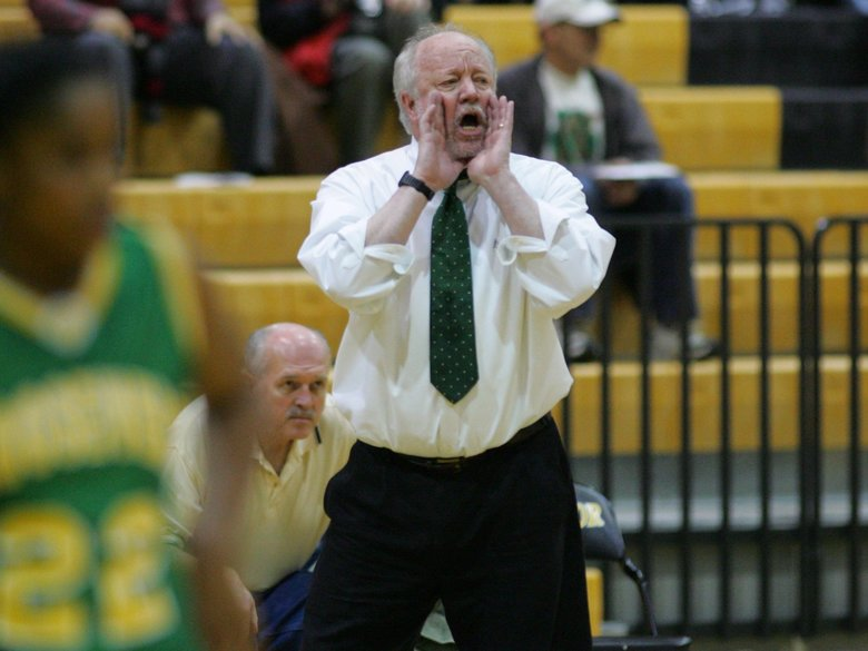 Coach Bill Resler led the Roosevelt girls basketball team to the 2004 state title.  (Jim Bates/The Seattle Times)