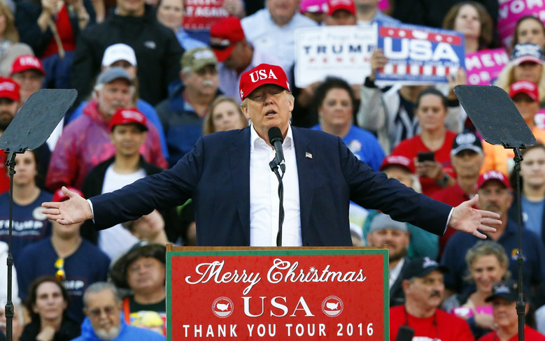 FILE – In this Dec. 17, 2016 file photo, then-President-elect Donald Trump speaks during a rally at the Ladd–Peebles Stadium in Mobile, Ala. President Donald Trump is holding a campaign rally Saturday, Feb. 18, 2017, in the political battleground state of Florida, 1,354 days before the election. (AP Photo/Brynn Anderson, File)