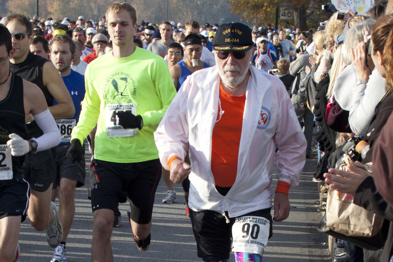 Don McNelly, of Irondequoit, N.Y., competes in the 2010 Harrisburg Marathon in Harrisburg, Pa., in 2010. He was 90 at the time. McNelly, an internationally known runner who completed 744 marathons died last Sunday, Feb. 5. He was 96. (Daniel Shanken/ASSOCIATED PRESS)
