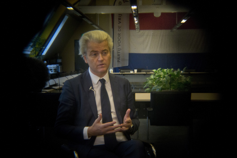 "Firebrand anti-islam lawmaker Geert Wilders answers questions during an interview in The Hague, Netherlands, Thursday, Feb. 16, 2017. Now, as a March 15 parliamentary election looms, the political mood is turning inward as Wilders dominates polls with an isolationist manifesto that calls for the Netherlands ""to be independent again. So out of the EU."" (AP Photo/Peter Dejong)"