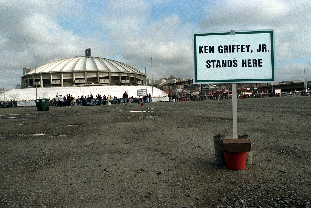 On the day of the Safeco Field groundbreaking a sign points out where Ken Griffey Jr. will roam centerfield in the new park.  (Alan Berner / The Seattle Times)