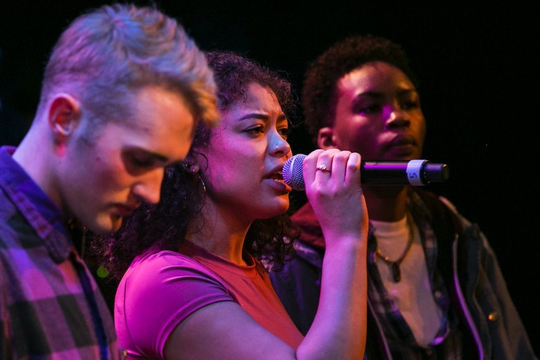 Musicians Marc Estabrook, left; ZAHARA (Zahara Williams), center; and Jnaii (Jenny Muleka) rehearse Tuesday. (Johnny Andrews/The Seattle Times)