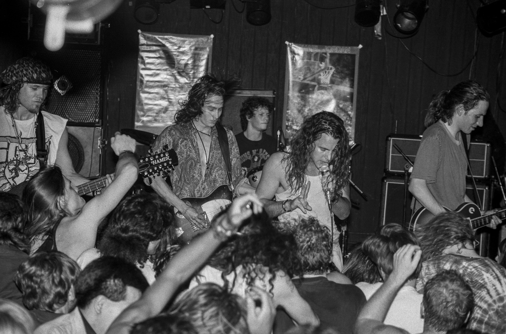 Pearl Jam's first live performance (when the band was called Mookie Blaylock) was Oct. 22, 1990, at the Off Ramp Cafe on Eastlake. This photo is from another early show at the Off Ramp, a few months later, drawing a larger crowd than the unadvertised first concert. (Lance Mercer / 1991).