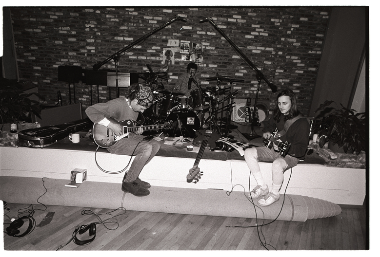 "From left, Stone Gossard, Dave Krusen and Mike McCready play during the recording sessions for ""Ten"" at London Bridge Studio in Shoreline. (Lance Mercer/1991)."