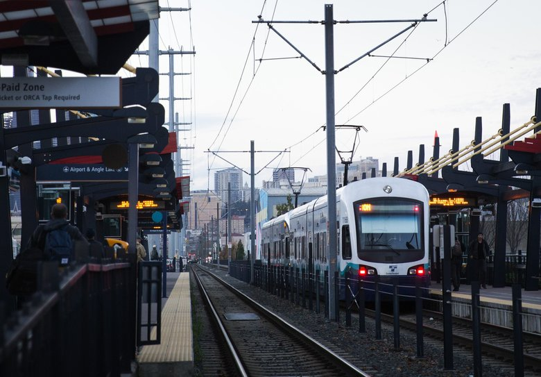 A northbound light-rail train leaves the Sodo station last year.  (Lindsey Wasson/The Seattle Times)