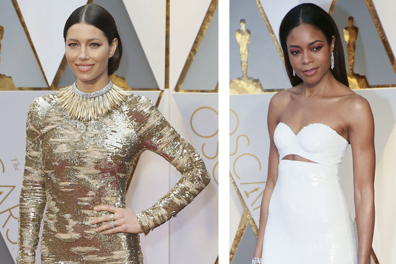 At left, Jessica Biel's structural, severe middle-part style was simple and powerful. At right, Naomie Harris sported both pink eyeshadow and a severe center part, two top beauty trends from the Oscars.