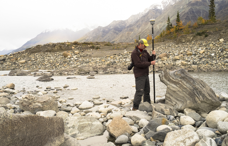 "In a handout photo, Jim Best, a researcher, measures water levels on the lower-flowing Slims River in early September 2016. In the blink of a geological eye, climate change has helped reverse the flow of water melting from the Kaskawulsh Glacier in Canada's Yukon, a hijacking that scientists call ""river piracy."" (Dan Shugar/University of Washington-Tacoma via The New York Times) — NO SALES; FOR EDITORIAL USE ONLY WITH CANADA RIVER CLIMATE BY JOHN SCHWARTZ FOR APRIL 18, 2017. ALL OTHER USE PROHIBITED. —"
