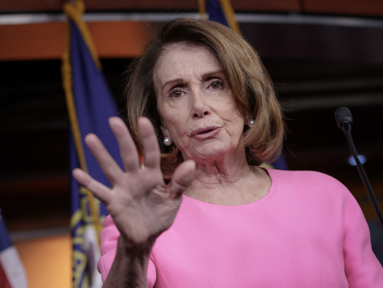 FILE – In this March 30, 2017 file photo, House Minority Leader Nancy Pelosi of Calif. speaks with reporters on Capitol Hill in Washington. President Donald Trump could avert the risk of a government shutdown next weekend by stepping back from his demand that lawmakers fund his promised border wall with Mexico in a must-pass spending bill, Congress' two top Democrats said Monday, April 24, 2017. (AP Photo/J. Scott Applewhite, File)