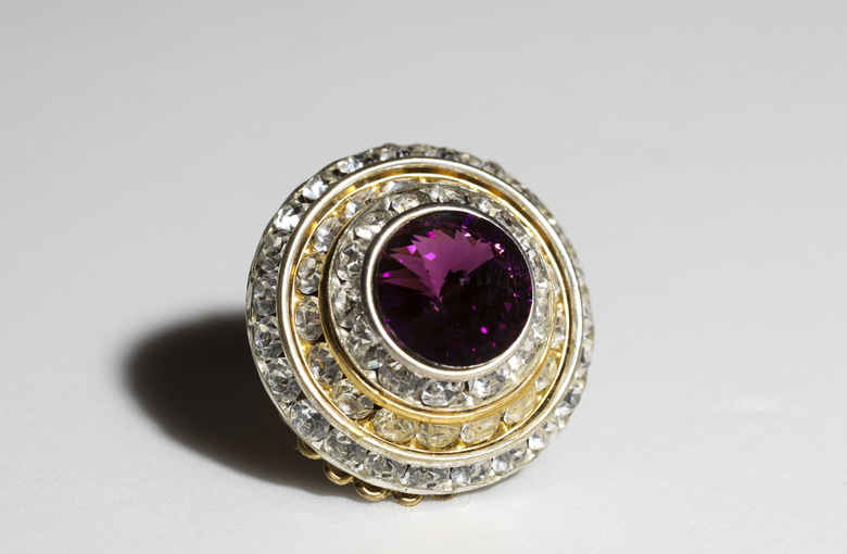 One of Prince's cuff links that has been cataloged at his Paisley Park compound. Archivist Angie Marchese said that much of the rocker's jewelry found so far is costume jewelry. (ACKERMAN + GRUBER/NYT)