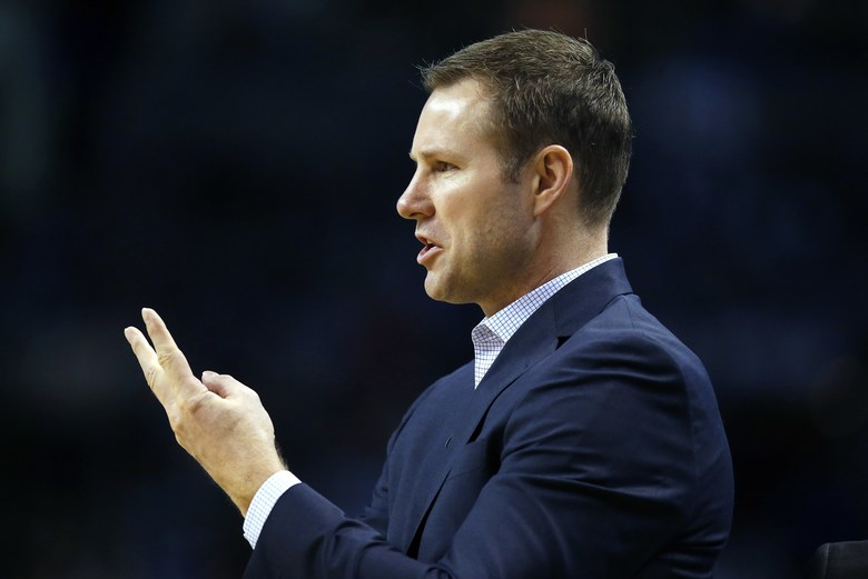 Chicago Bulls head coach Fred Hoiberg signals during the fourth quarter of a first-round NBA playoff basketball game against the Boston Celtics, Sunday, April 16, 2017, in Boston. The Bulls won 106-102. (AP Photo/Michael Dwyer)