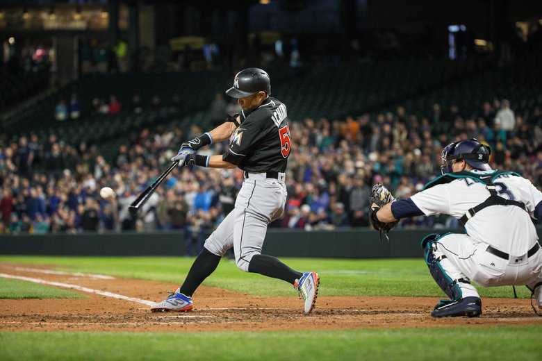 Ichiro grounds out in his first at-bat Monday. The Miami Marlins played the Seattle Mariners in the first game of a three-game set Monday, April 17, 2017 at Safeco Field in Seattle.  (Dean Rutz/The Seattle Times)