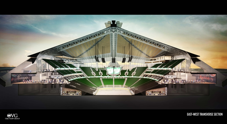 A rendering of the Oak View Group's KeyArena plan shows the bowl will be 15 feet deeper than the current one to create added seating. (Oak View Group)