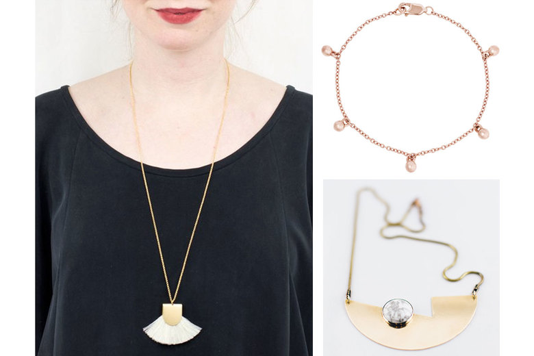 Clockwise from left: Baleen Pinna Necklace, $48; LilyEmme 14K Gold Tiny Sphere Bracelet, $460; Cosmic Twin Moonstruck Necklace, $160
