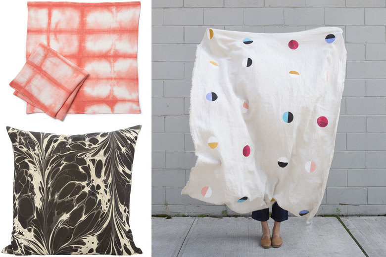 Clockwise from top left: Rebecca Atwood Shibori Napkins in Coral, $90 for two at rebeccaatwood.com; Caroline Z. Hurley Joshua Tree Natural Throw, $140 at carolinezhurley.com; Rule of Three Stone Plume Pillow in Tapa Cloth, $315–$565 at ruleofthreestudio.com