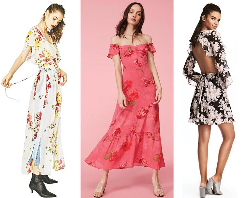 From left: Zara Long Dress With Opening, $40; Reformation Tropica Dress, $248; and H&M Ruffled Dress, $50