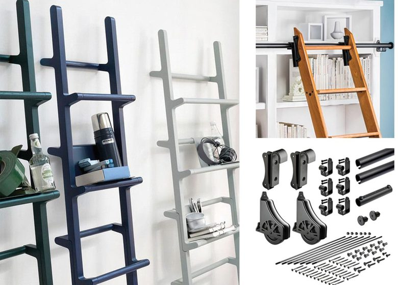 From left: Mikko Halonen Verso Shelves, $181–$319 at hem.com; and                                       Rockler 8 Foot Classic Rolling Library Ladder Kit with 12 Feet of Track, $500 at rockler.com