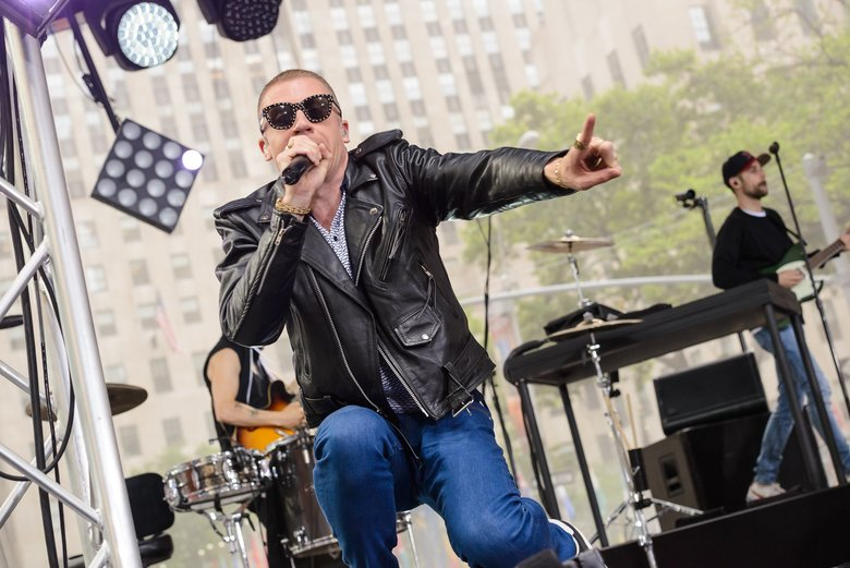 "Ben Haggerty, AKA Macklemore, performs on NBC's ""Today"" show June 23, 2016, at Rockefeller Plaza in New York City.  (Christopher Smith / Invision / AP)"