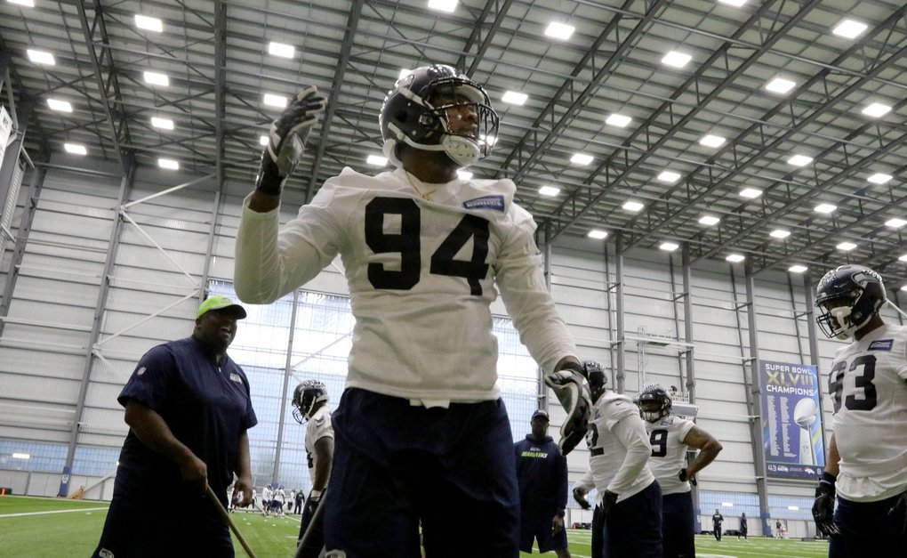 Malik McDowell (94), defensive tackle on the first day of rookie minicamp for the Seahawks, at the VMAC facility in Renton, WA in May.  He's 6-6 and almost 300-pounds from Michigan State University and is the team's first pick in this year's draft. (Alan Berner / The Seattle Times)