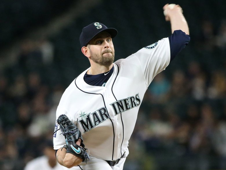 Mariners pitcher James Paxton returns to the mound in the first inning against Colorado on Wednesday at Safeco Field in Seattle. 202026 (Ken Lambert / The Seattle Times)