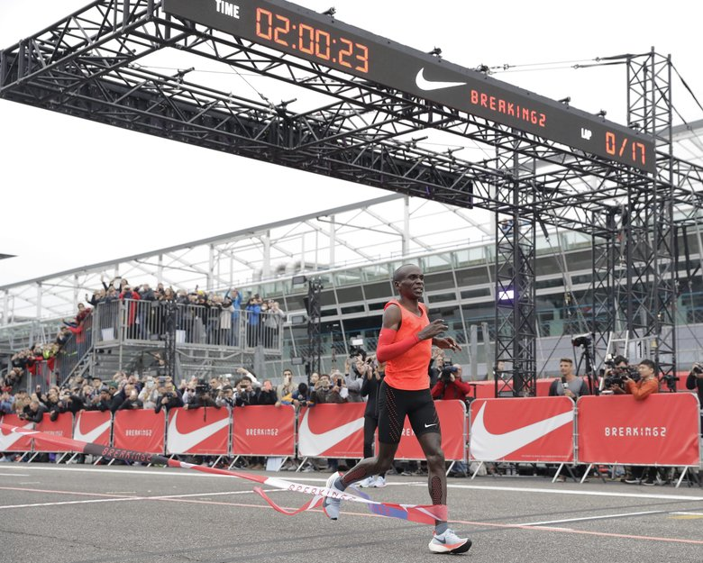 Olympic marathon champion Eliud Kipchoge was 26 seconds from making history on May 6 on a racetrack in Italy taken over by Nike for what was essentially a 26.2-mile experiment rather than a race. (Luca Bruno/AP)