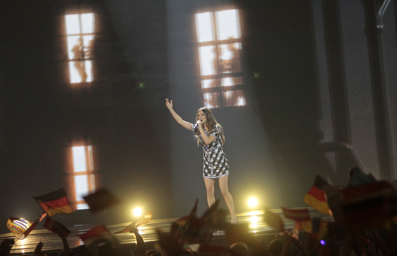 "Alma from France performs the song ""Requiem"" during the Final for the Eurovision Song Contest, in Kiev, Ukraine, Saturday, May 13, 2017. (AP Photo/Efrem Lukatsky)"
