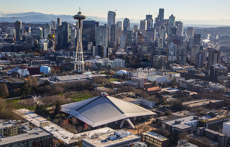 Wed., December 7, 2016.    Seattle's lower Queen Anne neighborhood with the Seattle Center and Key Arena.