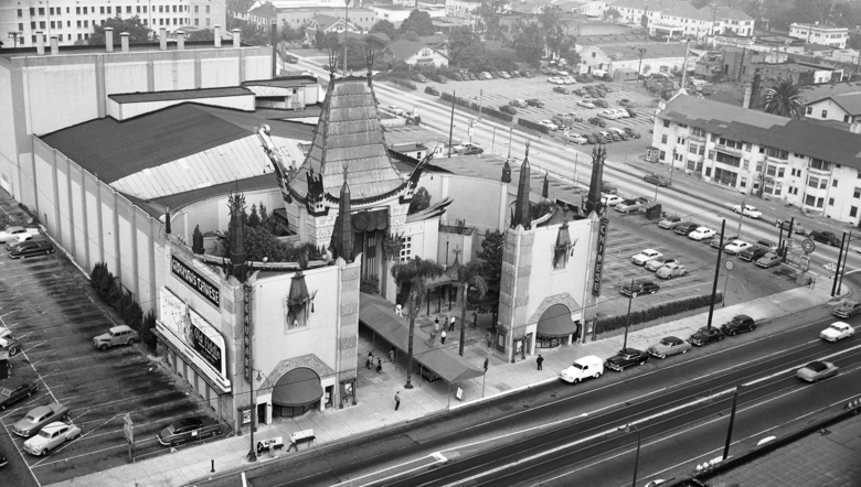 FILE – This 1952 file photo shows an aerial view of Grauman's Chinese Theater in the Hollywood section of Los Angeles. The storied Hollywood Boulevard movie palace now known as the TCL Chinese Theatre opened its doors on May 18, 1927. (AP Photo, File)