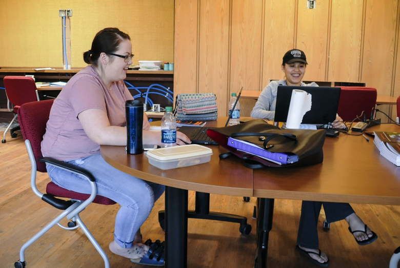 FILE – In this May 8, 2017, file photo, Amy Murdoch, left, and Mia LameBull study for finals at the campus of Montana State University Northern in Havre, Mont.  In the weeks leading up to Montana's special congressional election, Democrat Rob Quist and his surrogates fanned out across college campuses throughout the state, hoping to tap into a trove of progressive votes in a place where conservative values are as sturdy as the nearby Rocky Mountains. With just a week left to campaign before the May 25 election, Quist is counting on college-age voters to provide the sliver of ballots he needs to prevail in a nationally watched election for Montana's open congressional seat, vacant since Ryan Zinke resigned to become U.S. interior secretary.  (Holly Michels /The Billings Gazette via AP, File)