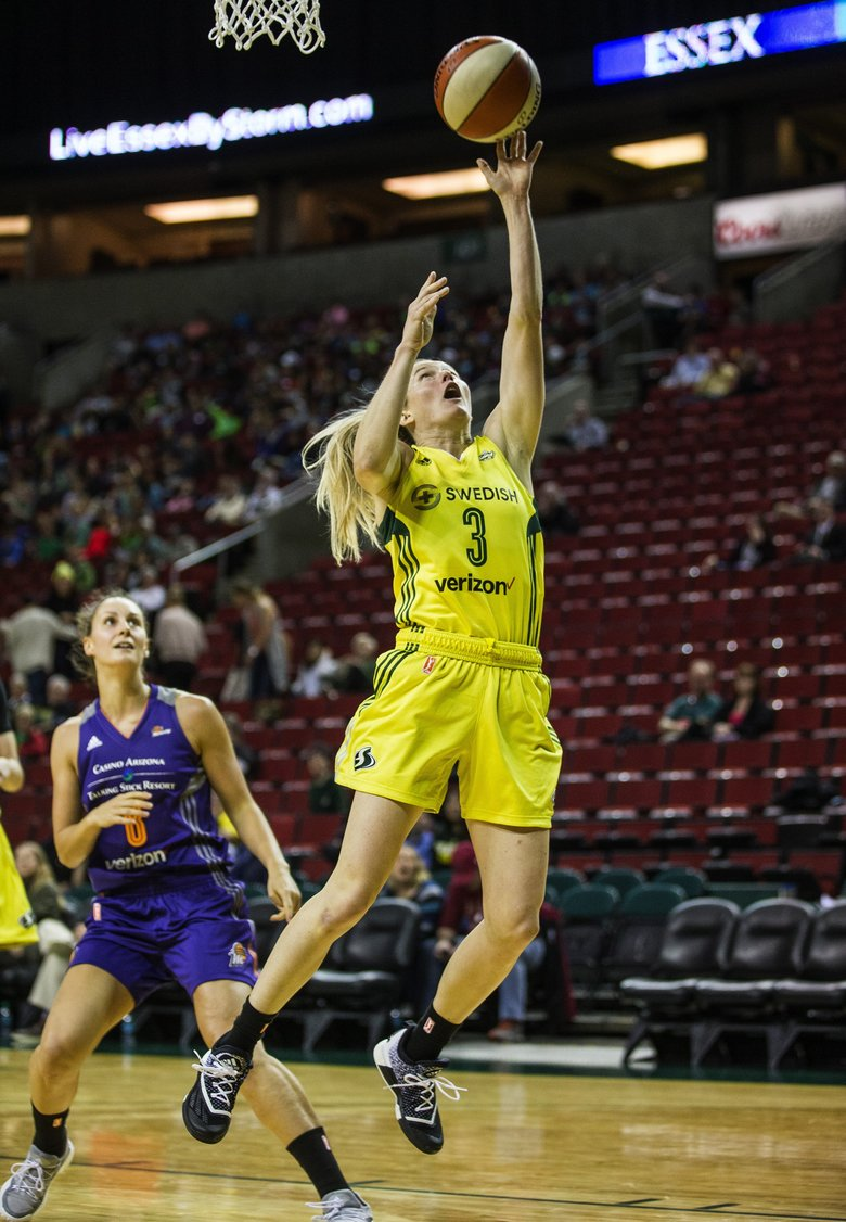 Storm guard Sami Whitcomb takes the pass in the post and scores in the 4th quarter to give Seattle a 69-50 lead at 7:16 in the 4th. The Phoenix Mercury played the Seattle Storm in the season's exhibition opener Wednesday, May 3, 2017 at KeyArena in Seattle. — 201762 (Dean Rutz/The Seattle Times)