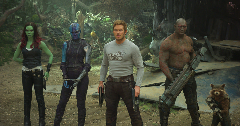 """Guardians of the Galaxy Vol. 2"" includes, from left, Zoe Saldana as Gamora, Karen Gillan as Nebula, Chris Pratt as Peter ""Star Lord"" Quill, Dave Bautista as Drax and Bradley Cooper as the voice of Rocket. (Marvel Studios)"