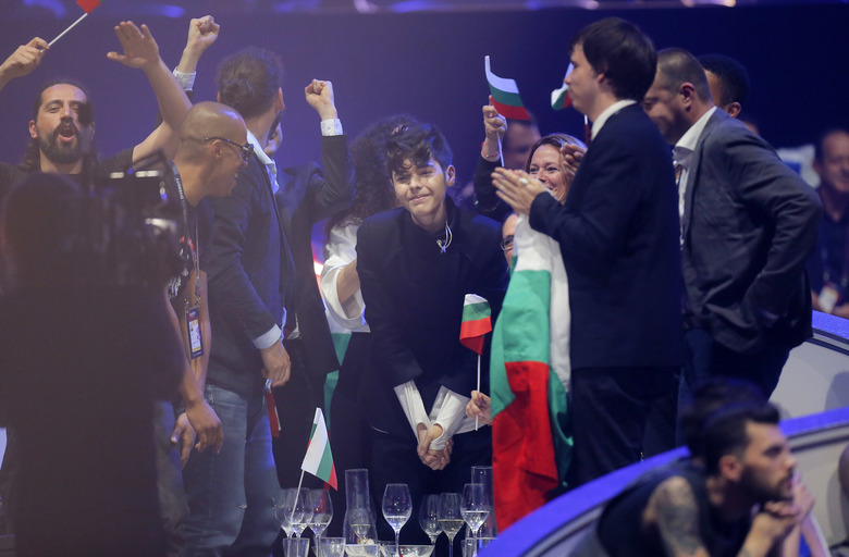 Kristian Kostov from Bulgaria, center, reacts after placing second in the the Final of the Eurovision Song Contest, in Kiev, Ukraine, Saturday, May 13, 2017. (AP Photo/Efrem Lukatsky)