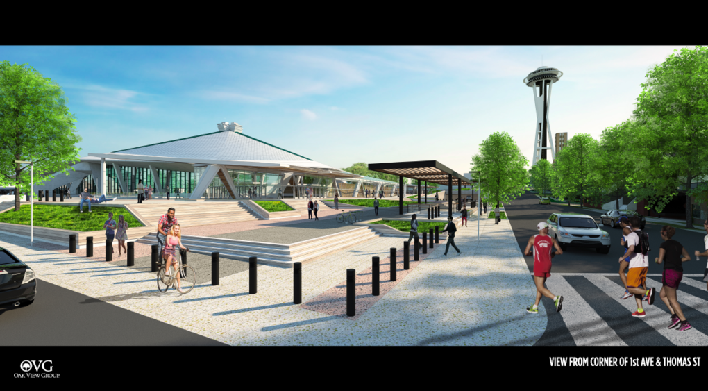 A look at the revised Oak View Group rendering for a remodeled KeyArena after the company on Monday announced it was scrapping plans for an 850-stall parking garage funded by the Port of Seattle. (OVG)