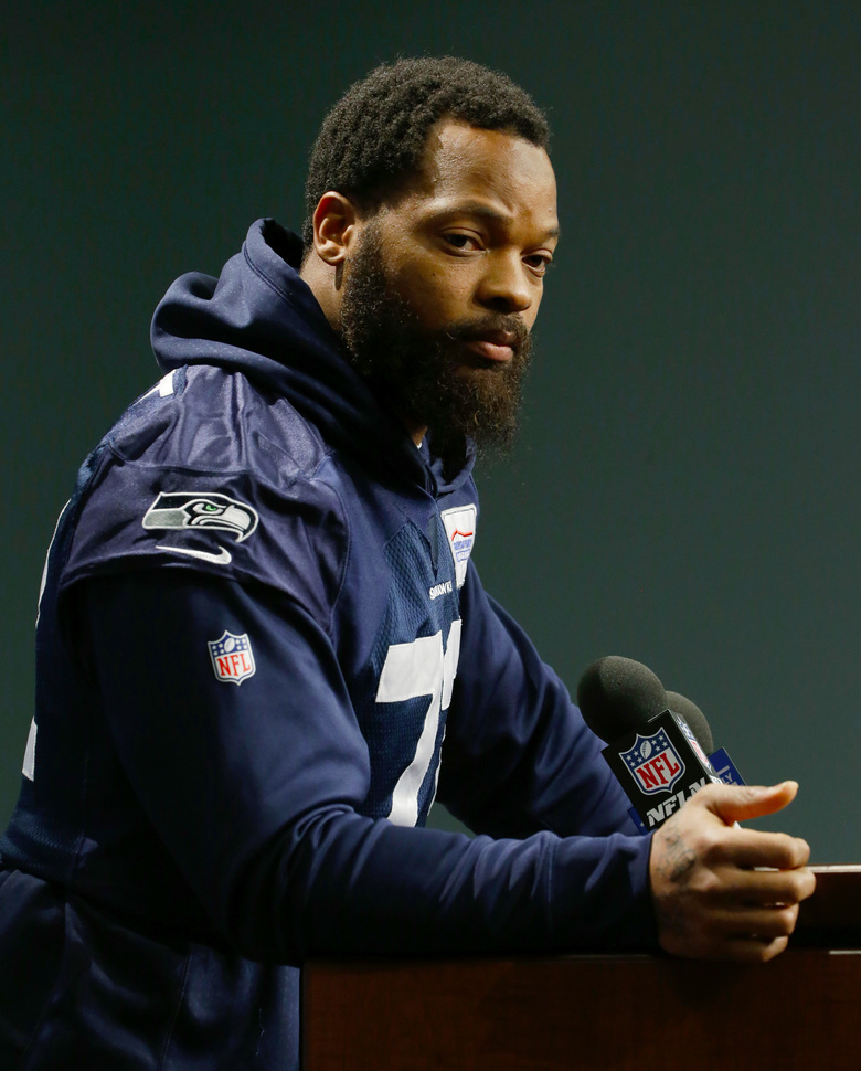 Seattle Seahawks defensive end Michael Bennett listens to a question as he talks to reporters on Tuesday, Jan. 10, 2017, in Renton, Wash. (AP Photo/Ted S. Warren)  (Ted S. Warren/AP)
