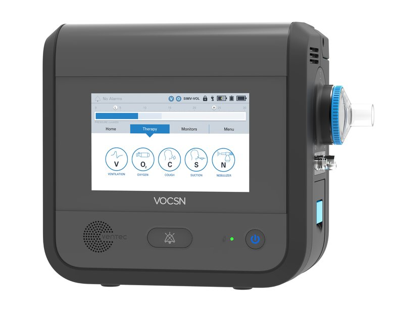 The VOCSN device combines five life- support machines into one compact pack. (Courtesy Ventec Life Systems)