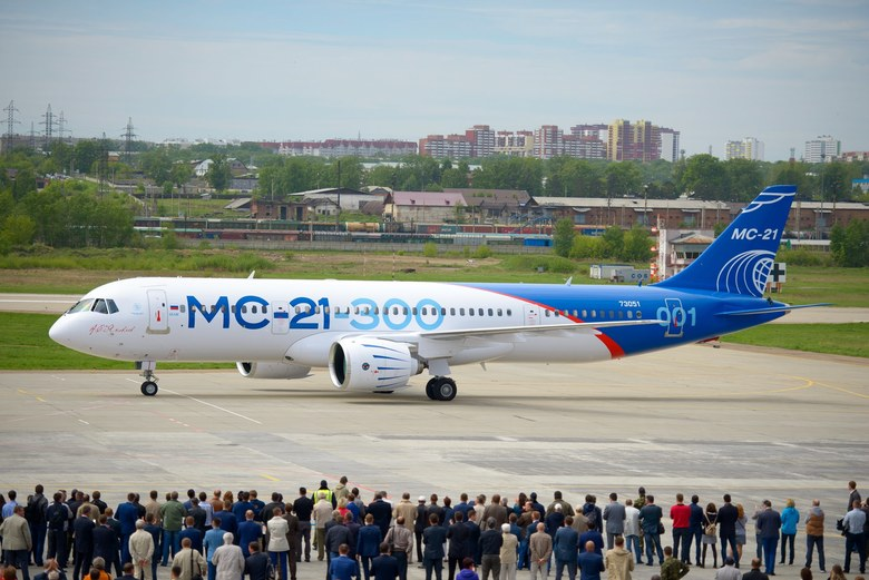 The first flight of Russia's new MC-21-300 passenger airliner was completed May 28, in Irkutsk, about 3,200 miles east of Moscow. The medium-range passenger plane completed a 30-minute test flight, reaching an altitude of 3,300 feet and a speed of 186 miles per hour. (IRKUT CORPORATION PRESS SERVICE/EPA)