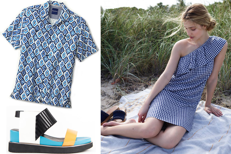 Clockwise from top left: Tommy Bahama Ionian Ikat Camp Shirt, $118; Velvet by Graham & Spencer One-Shoulder Check Dress, $174; United Nude Rico Sandals, $220