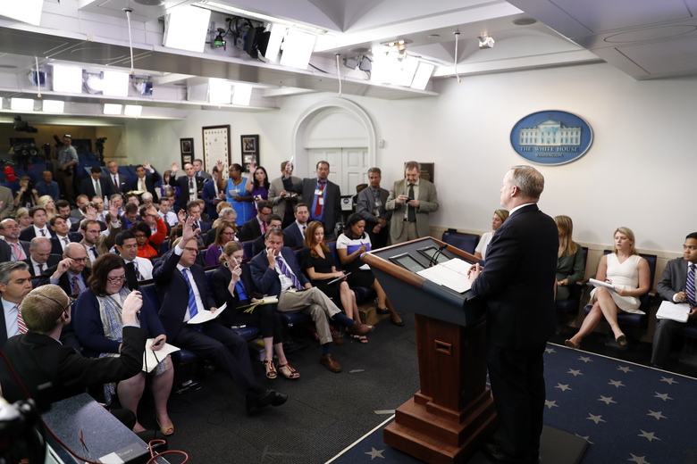 White House press secretary Sean Spicer speaks during a the daily briefing at the White House in Washington, Monday, June 26, 2017. (AP Photo/Alex Brandon)