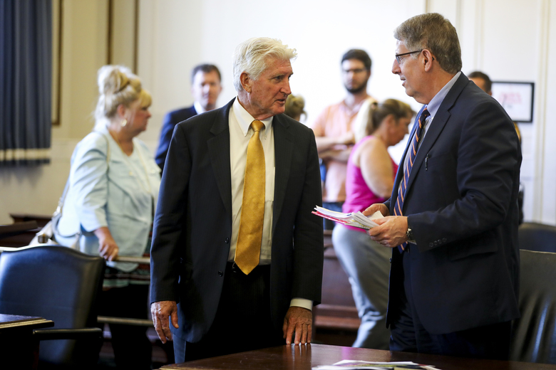 Defense Attorney Stew Mathews and Assistant Prosecutor Seth Tieger, right, talk after the jury was dismissed for deliberations during Ray Tensing's retrial at the Hamilton County Courthouse in Cincinnati, Monday, June 19, 2017. Tensing is charged with murder and voluntary manslaughter in the shooting of unarmed black motorist Sam DuBose during a 2015 traffic stop. (Cara Owsley/The Cincinnati Enquirer via AP, Pool)