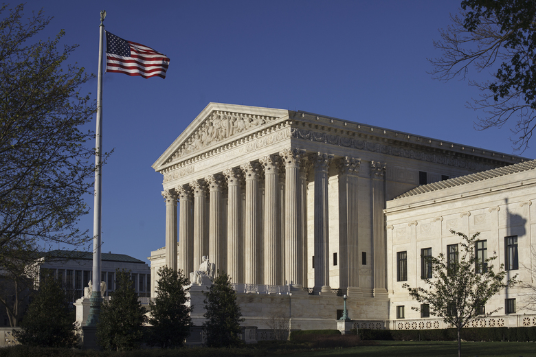 FILE – In this April 4, 2017 file, the Supreme Court in Washington. The Supreme Court says the government can't refuse to register trademarks that are considered offensive. The ruling Monday, June 19, 2017, is a win for an Asian-American rock band called the Slants and it gives a major boost to the Washington Redskins in their separate legal fight over the team name. (AP Photo/J. Scott Applewhite)