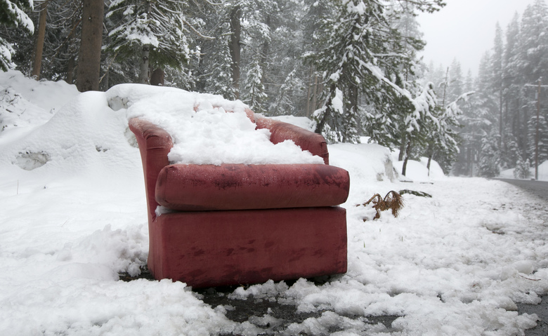 Snow covers a chair near Serene Lakes, Monday, June 12, 2017, near Soda Springs, Calif. A rare winter-like storm brought more snow to the Sierra Nevada, Monday. (AP Photo/Rich Pedroncelli)