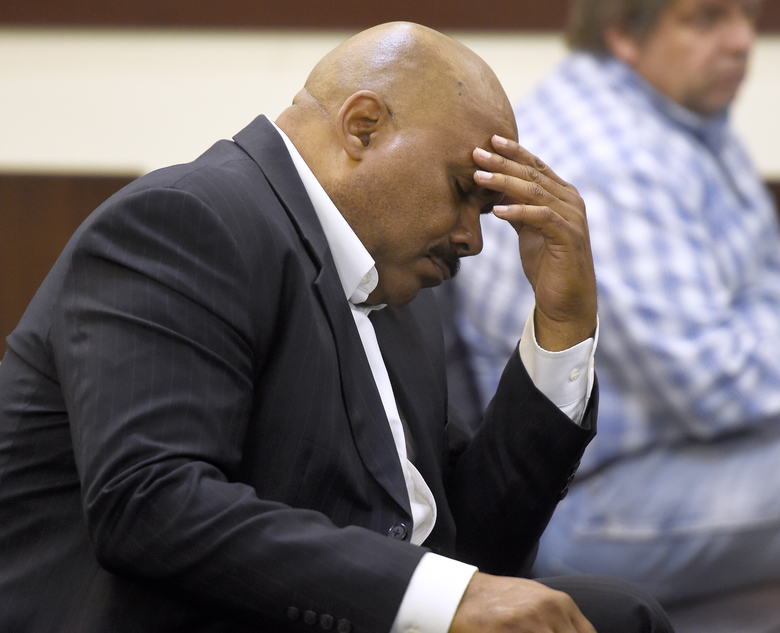 Maurice Banks, fathers of former Vanderbilt football player Brandon Banks, listens during the Vanderbilt rape case trial at Justice A. A. Birch Building Monday, June 19, 2017, in Nashville, Tenn. Brandon Banks is charged with five counts of aggravated rape and two counts of aggravated sexual battery.  (Lacy Atkins/The Tennessean via AP, Pool)