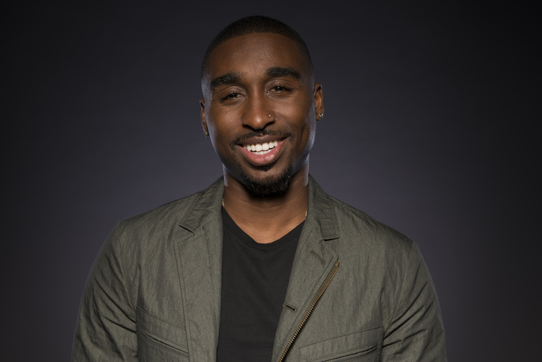 Demetrius Shipp Jr. for years has been noticed for his resemblance to the late rapper Tupac Shakur, who was killed in 1996. (Photo by Ron Eshel/Invision/AP)