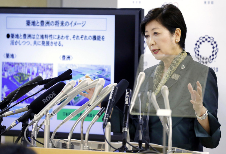 Tokyo Gov. Yuriko Koike speaks during a press conference at Tokyo Metropolitan City Hall in Tokyo Tuesday, June 20, 2017. Koike said the giant Tsukiji fish market, popular with tourists, will stay, although it will get modernized and developed within five years. Koike told reporters that the market will temporarily move to Toyosu, which required a 600 billion yen ($6 billion) investment. (Yohei Fukai/Kyodo News via AP)