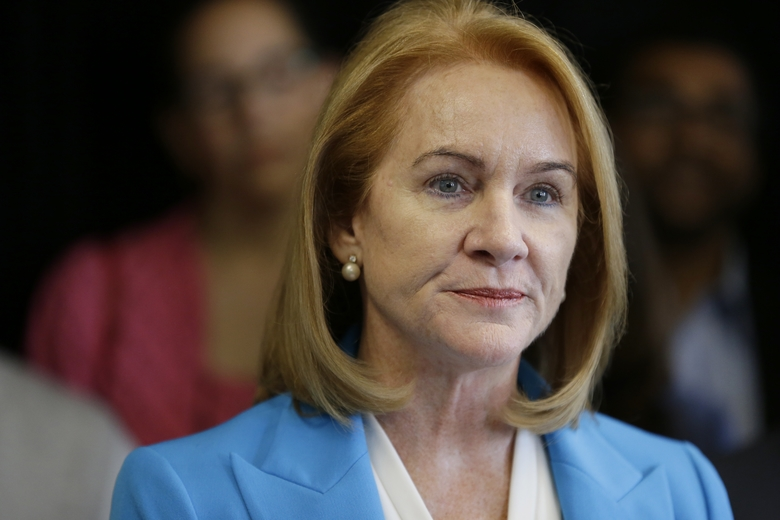 Jenny Durkan, a former U.S. Attorney, announces her candidacy for Mayor of Seattle, Friday, May 12, 2017, at a news conference in Seattle. (Ted S. Warren/AP)