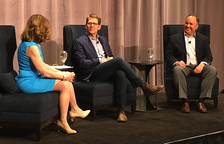 Joni Balter (left) with Jay Carney and Scott McClellan at Seattle CityClub annual benefit luncheon.