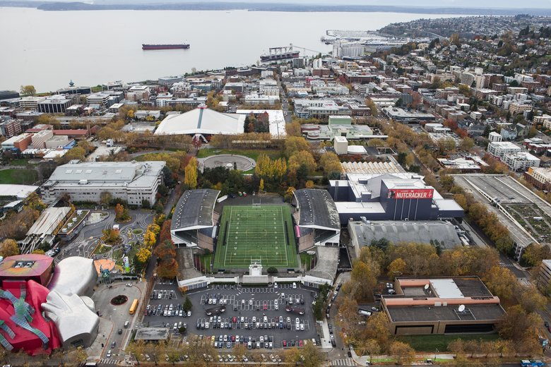 An aerial view of Memorial Stadium  (Dean Rutz/The Seattle Times)