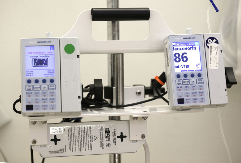 Equipment that administers chemotherapy drugs at the North Carolina Cancer Hospital in Chapel Hill, N.C. (AP Photo/Gerry Broome, file)