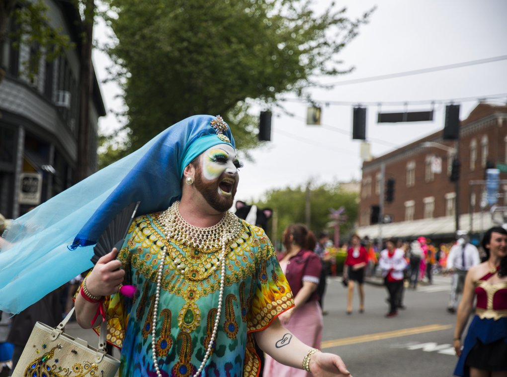 "A member of the ""Sisters of Perpetual Indulgence,"" a fixture of the Fremont Solstice Parade, participates in the event on Saturday.  (Kjell Redal/The Seattle Times)"